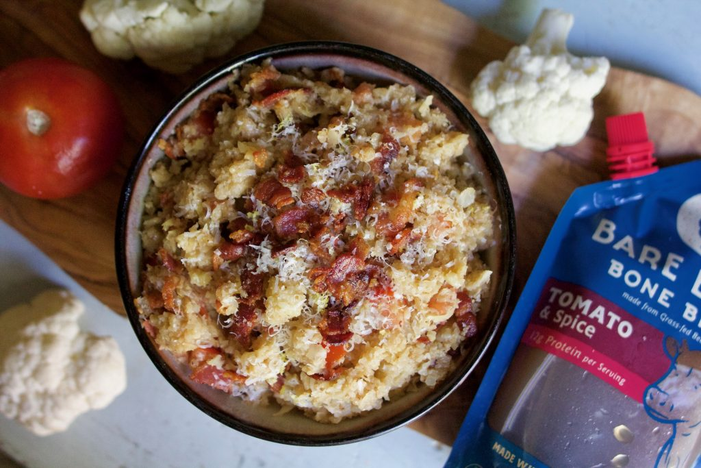 Cauliflower Rice Risotto with Tomato and Bacon