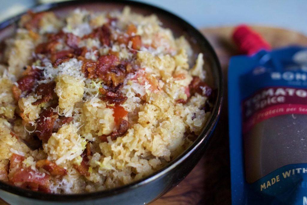 "Cauliflower Rice ""Risotto"" with Tomato and Bacon from the Bare Bones kitchen"