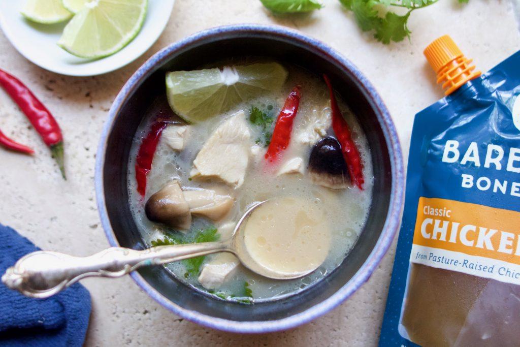 coconut ginger chicken bone broth soup