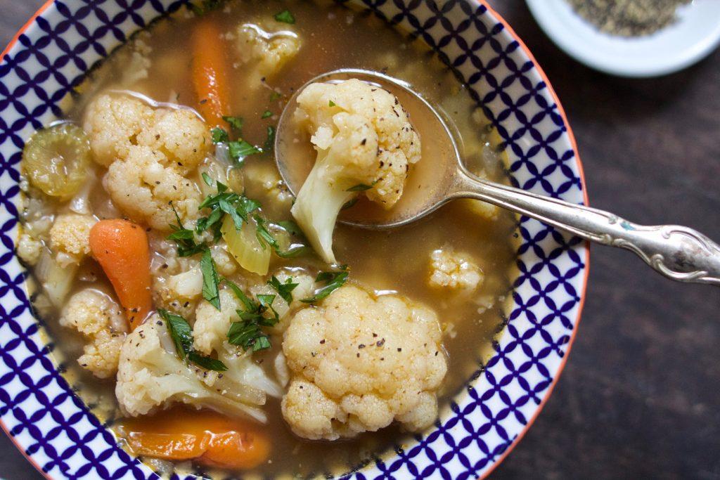 bone broth cauliflower soup